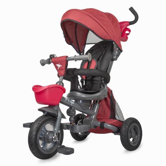 NEO LUX  szülőkormányos tricikli Red  Forgatható, dönthető üléspozíció, összecsukható váz, gumi kerék,