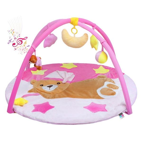PlayTo  zenélő  játszószőnyeg alvó macis rózsaszín